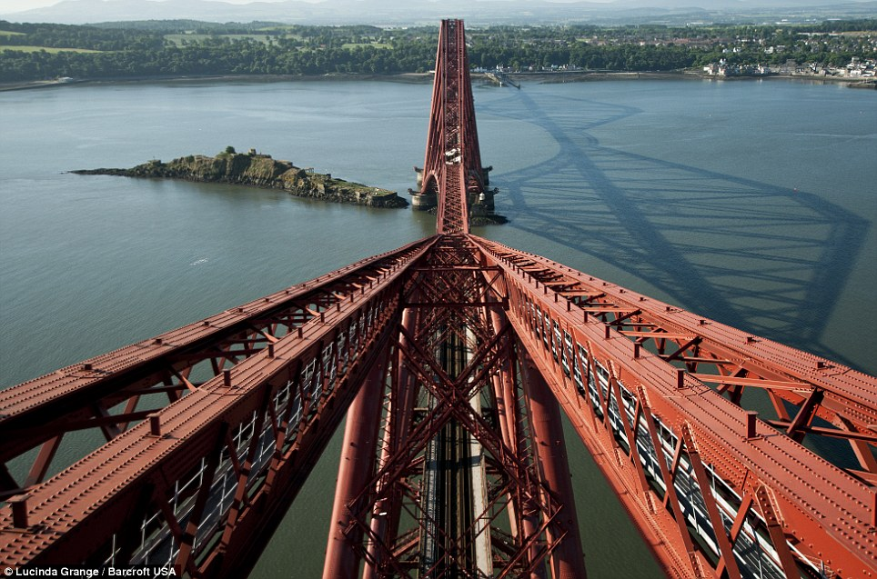 Stunning view: Ms Grange'S picture taken from the top of the Firth of Forth Rail Bridge in Queensferry, Scotland