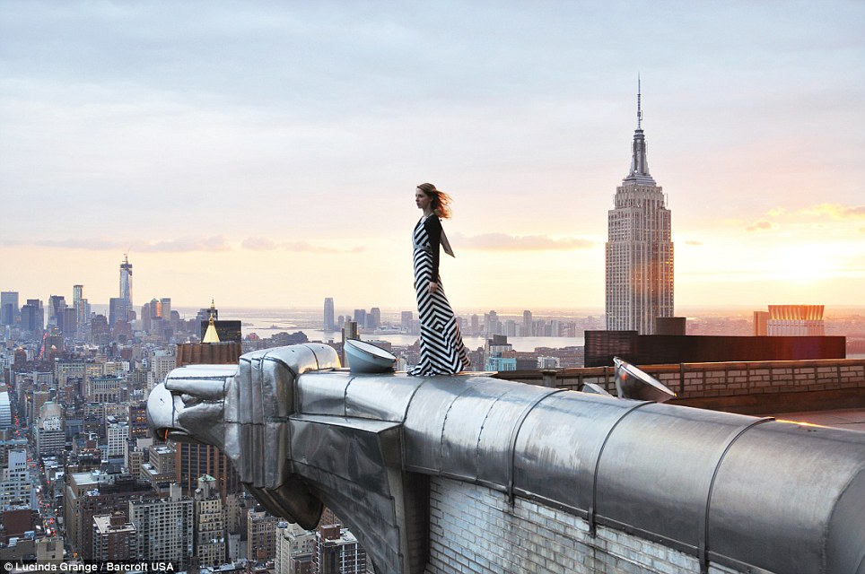 Manhattan skyline - perched hundreds of feet up on the edge of the Chrysler Building